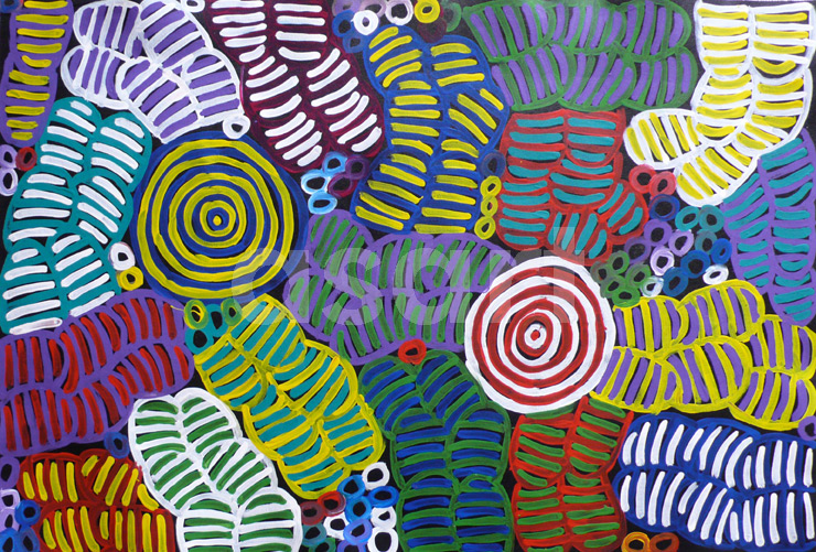 Awelye and Bush Melon (11YN004), by Aboriginal artist Betty Mbitjana (Australia)