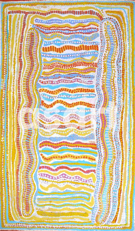 Ngapa Jukurrpa (Water Dreaming) - Mikanji (2008), by Aboriginal artist Rosie Nangala Flemming (Australia)