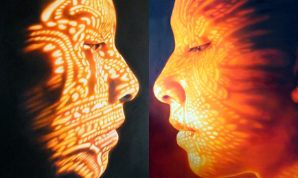 Into the Light (left) and Candle Image (right) by Asian artist Karuna Panumes (Thailand)