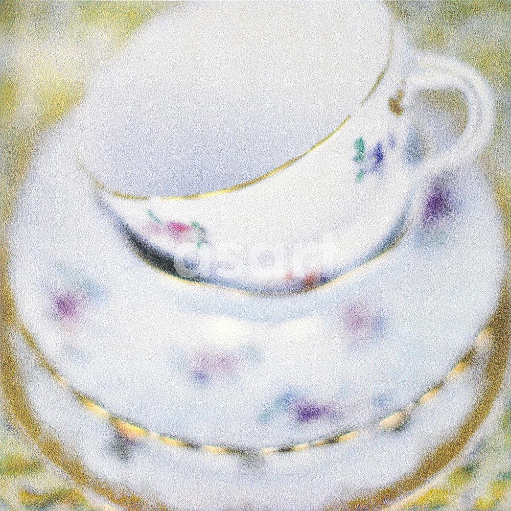 Gold Trim Teacups, by international artist Douglas Stewart (Canada/United States)